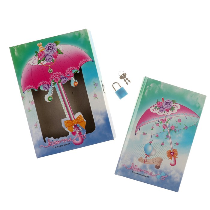 Записная книжка в подарочной коробке А5, 80 листов в линейку, на замке, «Зонтики», МИКС - фото 551447458