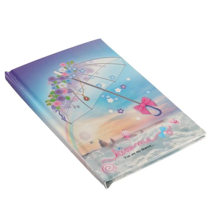Записная книжка в подарочной коробке А5, 80 листов в линейку, на замке, «Зонтики», МИКС - фото 551447462