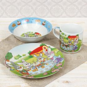 Набор детской посуды «Крольчата на обеде», 3 предмета: кружка 220 мл, миска 400 мл, тарелка 18 см