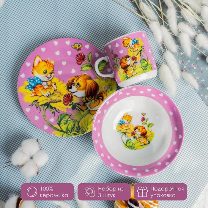"Children's tableware set, ""Friendship"", 3 pieces: mug 230 ml, 400 ml bowl, saucer 18 cm"