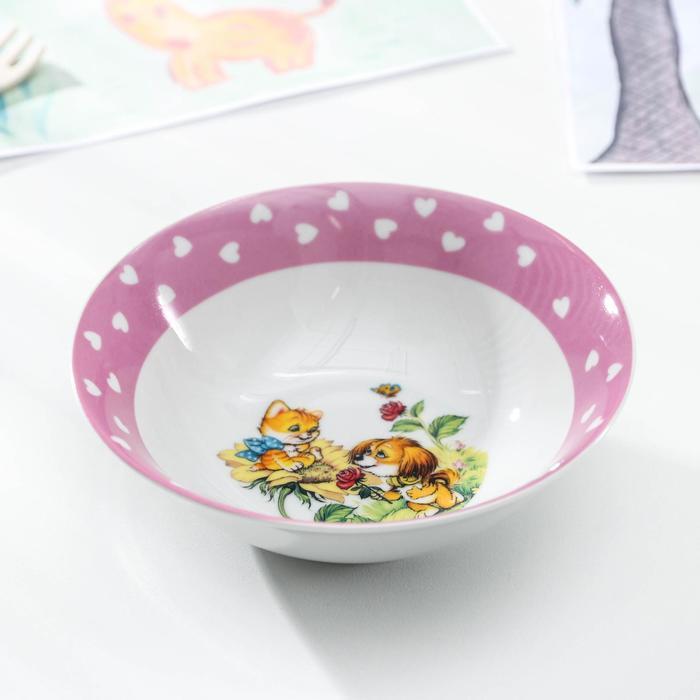 Набор детской посуды Доляна «Дружба», 3 предмета: кружка 230 мл, миска 400 мл, тарелка 18 см - фото 105458344