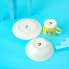 Набор детской посуды Доляна «Слонёнок», 3 предмета: кружка 230 мл, миска 400 мл, тарелка 18 см - фото 7333107
