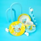 Набор детской посуды Доляна «Слонёнок», 3 предмета: кружка 230 мл, миска 400 мл, тарелка 18 см - фото 7333108