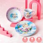 Набор детской посуды Доляна «Ангелок», 3 предмета: кружка 230 мл, миска 400 мл, тарелка 18 см - фото 105458349