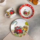 Набор детской посуды Доляна «Такси», 3 предмета: кружка 230 мл, миска 400 мл, тарелка в наличии - фото 106492848