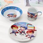 Набор детской посуды «Хоккеисты», 3 предмета: кружка 220 мл, миска 400 мл, тарелка 18 см - фото 105789509