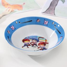 Набор детской посуды «Хоккеисты», 3 предмета: кружка 220 мл, миска 400 мл, тарелка 18 см