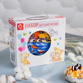 Набор детской посуды Доляна «Гонки», 3 предмета: кружка 230 мл, миска 400 мл, тарелка 18 см в наличии