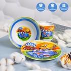Набор детской посуды Доляна «Гонки», 3 предмета: кружка 230 мл, миска 400 мл, тарелка 18 см в наличии - фото 106492853