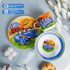 """Набор детской посуды """"Гонки"""", 3 предмета: кружка 230 мл, миска 400 мл, тарелка 18 см"""