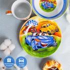 Набор детской посуды Доляна «Гонки», 3 предмета: кружка 230 мл, миска 400 мл, тарелка 18 см в наличии - фото 106492854
