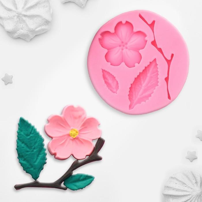 Молд силиконовый «Цветок, лист и веточка», 5,5×0,9 см - фото 308041391