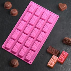 Форма для льда и шоколада 30×17,5 см «Батончики», 20 ячеек (5×2,5×2 см), цвет МИКС