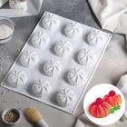 Форма для муссовых десертов и выпечки 40×30 см «Зефир», 12 ячеек (6,8×6,8 см), цвет белый