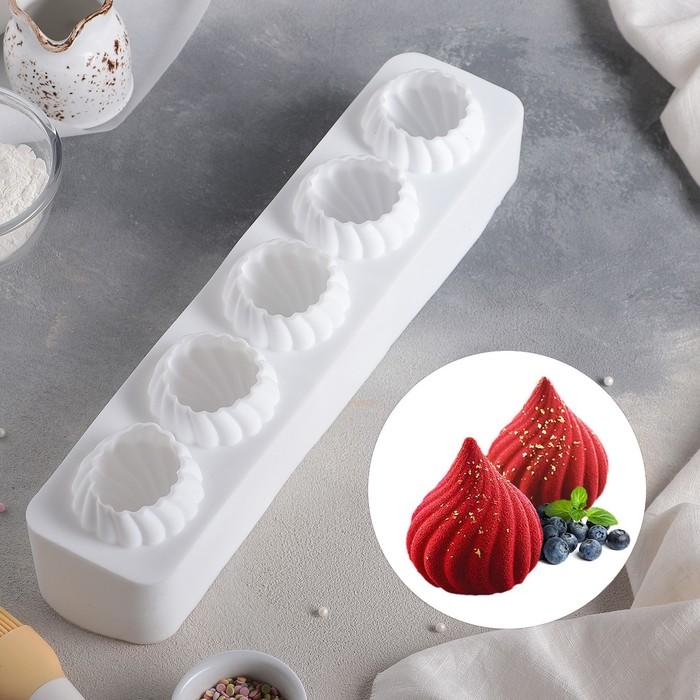 Форма для муссовых десертов и выпечки «Взбитые сливки», 40×9,5 см, цвет белый - фото 308045014