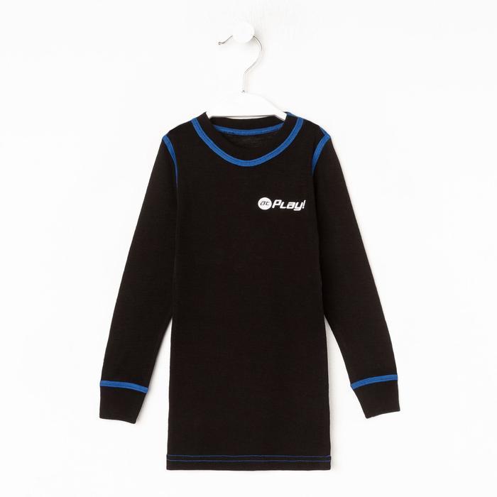 Лонгслив детская, цвет чёрный/синий, рост 122 см