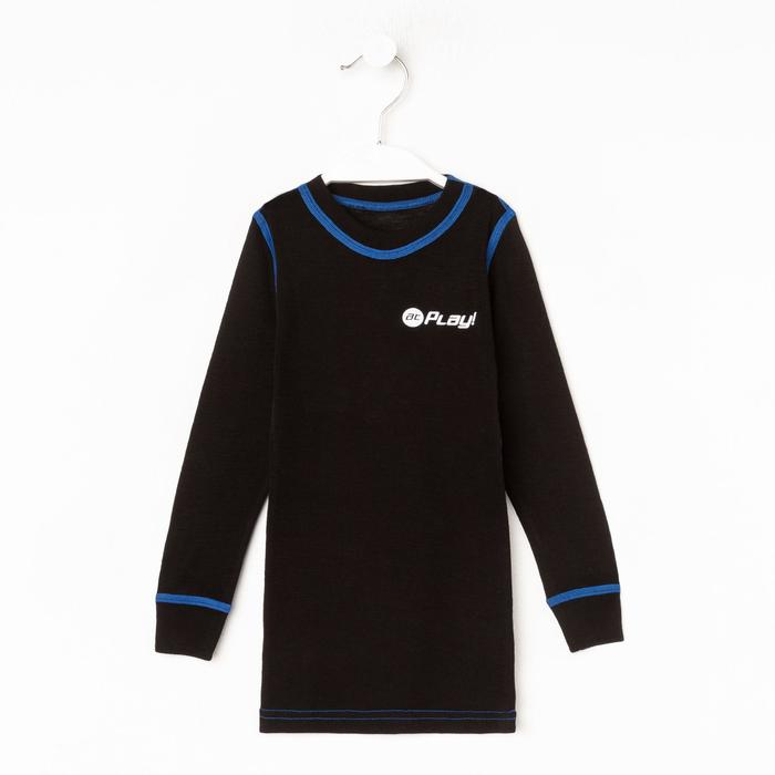 Лонгслив детская, цвет чёрный/синий, рост 98 см