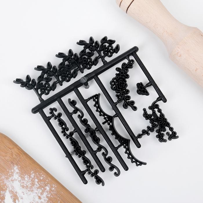 Набор печатей для теста и марципана Доляна «Вьюн», 7 шт - фото 308039871