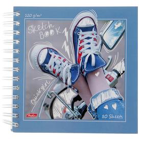 Тетрадь-скетчбук А5, 80 листов на гребне «Кеды», твёрдая обложка, блок 120 г/м² *