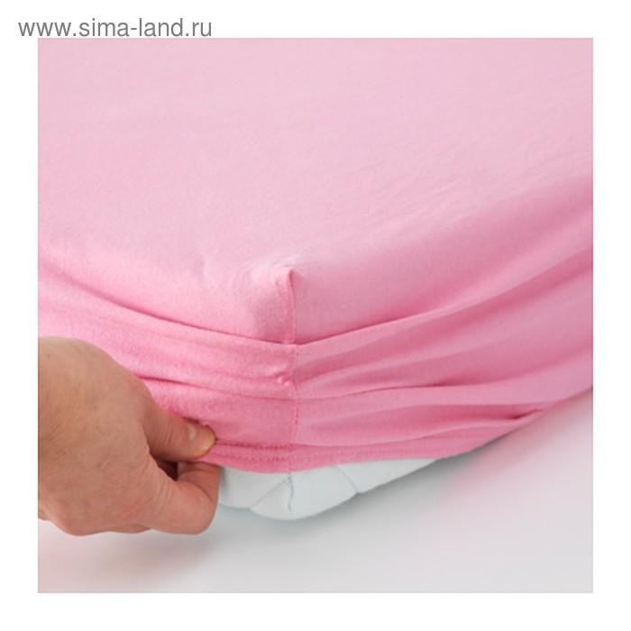 Простыня на резинке ЛЕН, 80х130 см, 80х165 см, по 1 шт., цвет розовый