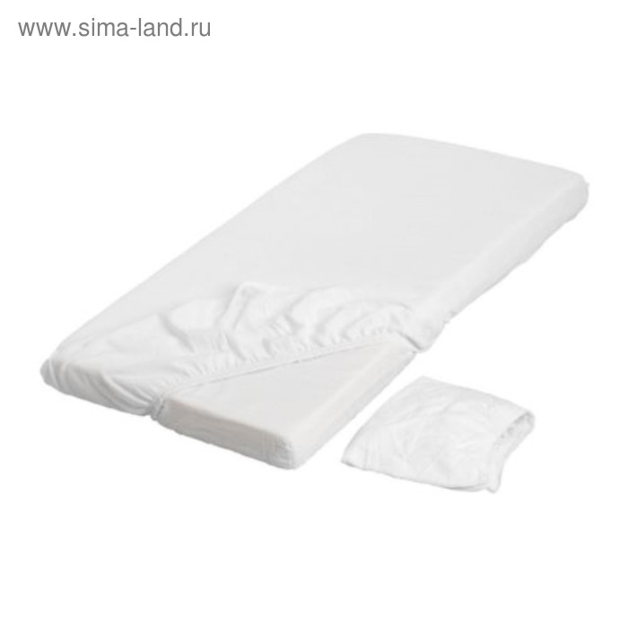 Простыня на резинке ЛЕН, размер 60х120 см-2 шт., цвет белый