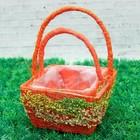 Набор корзин «Николь», 2 шт: 15,5×15,5×9/22 см, 12,5×12,5×8/17 см, оранж