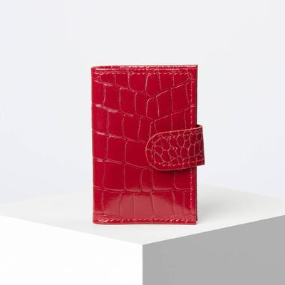 Визитница, вертикальная, с хлястиком, крокодил, цвет красный
