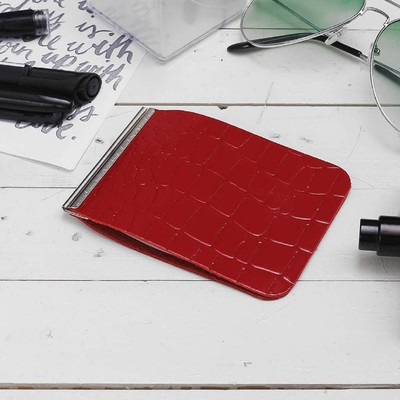 Зажим для купюр, с металлическим держателем, крокодил, цвет красный