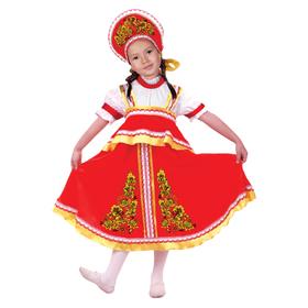 """Карнавальный русский костюм """"Хохлома, цветы"""", платье-сарафан, кокошник, цвет красный, р-р 34, рост 140 см"""