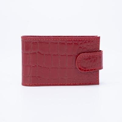Кредитница горизонтальная, 1 ряд, 18 листов, хлястик, крокодил, цвет красный