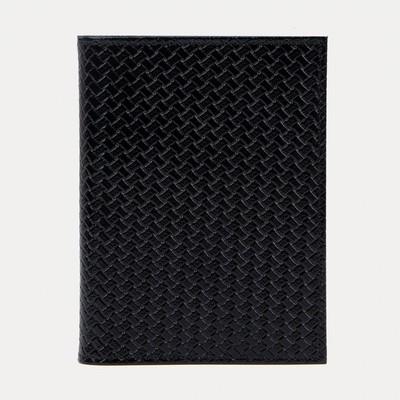 Обложка для автодокументов и паспорта, плетёнка, цвет чёрный