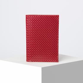 Обложка для паспорта с плетением, 5 карманов для карт, цвет красный