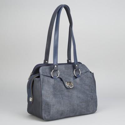 Сумка женская, 2 отдела на молниях, 2 наружных кармана, цвет синий