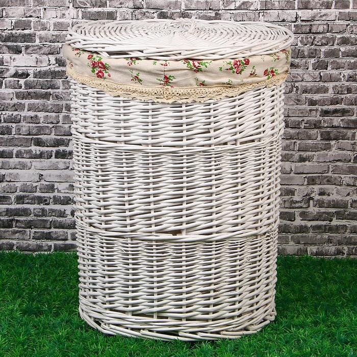 Корзина для белья, круглая, с крышкой, 38х38х47 см, белая, лоза