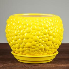 """Горшок для цветов """"Пузыри"""" лимонный цвет, 1,4 л - фото 1693424"""