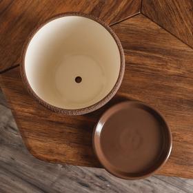 """Набор горшков для цветов""""Грация"""" шёлк, цвет молочный шоколад, 1,2 л/ 2,5 л/ 4,5 л/ 10 л - фото 5555176"""