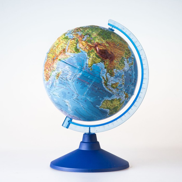 Глoбус физико-политический рельефный «Классик Евро», диаметр 250 мм, с подсветкой от батареек