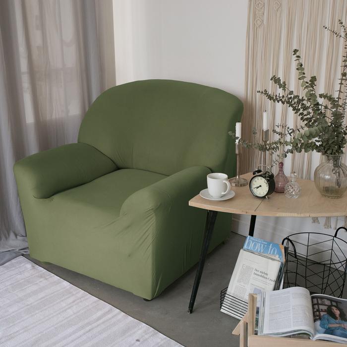 Чехол для мягкой мебели Collorista на кресло,наволочка 40*40 см в ПОДАРОК,оливковый