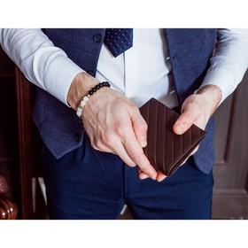Портмоне мужское, 2 отдела, для карт, цвет кофе - фото 60139