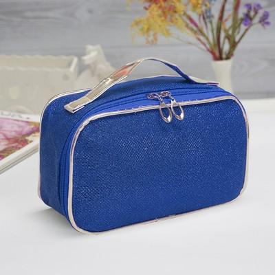 Косметичка-сундук «Блеск», отдел на молнии, цвет синий