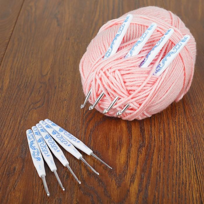 Набор крючков для вязания, d = 2-6 мм, 9 шт, цвет белый/синий