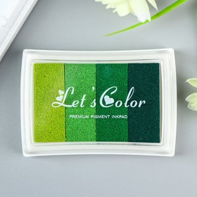 Штемпельная подушка 4 цвета 'Зелёная палитра' 7,8х5,5х1,8 см Ош