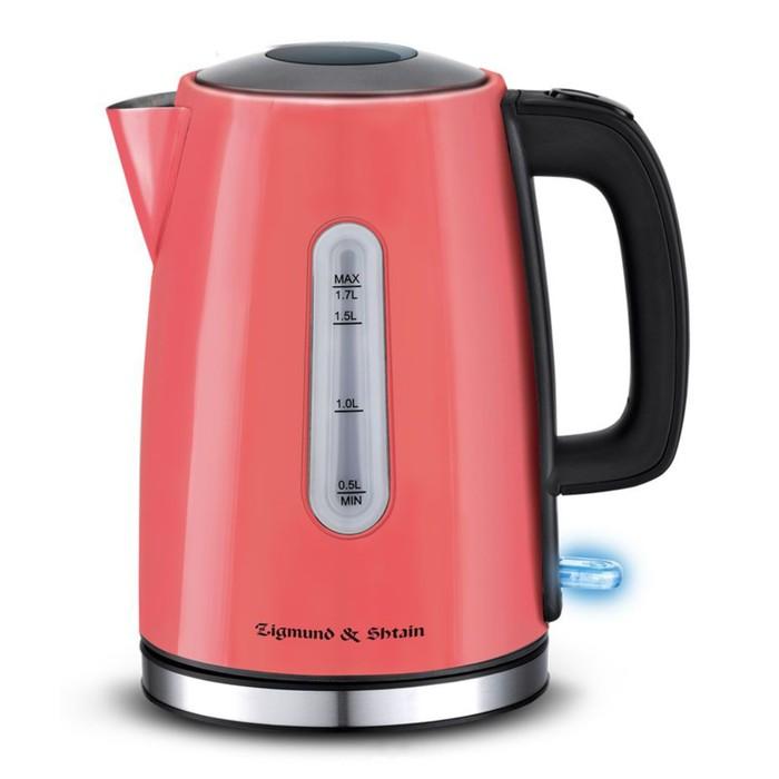 Чайник электрический Zigmund & Shtain KE-712, 2200 Вт, 1.7 л, металл, красный