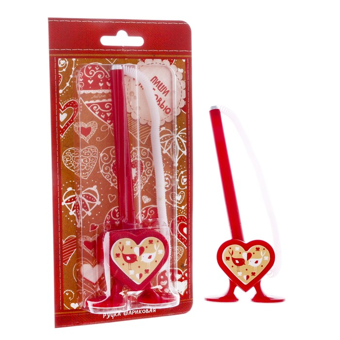 """Фигурная ручка """"Пиши с любовью"""" на подставке - фото 797885825"""
