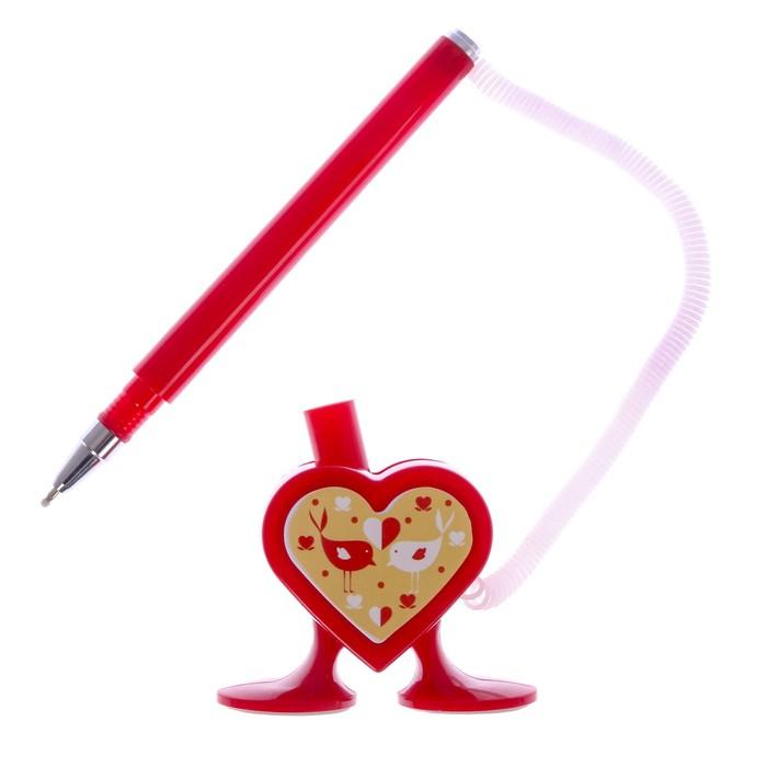"""Фигурная ручка """"Пиши с любовью"""" на подставке - фото 370900090"""