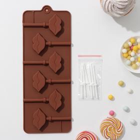 Форма для леденцов и мороженого Доляна «Поцелуй», 24×9,4×1,5 см, 6 ячеек (4×2,4 см), с палочками, цвет шоколадный