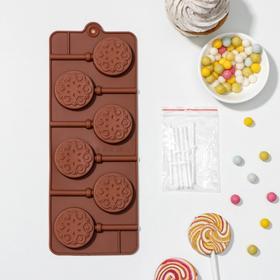 Форма для леденцов и мороженого Доляна «Морозко», 24×9,4×1,5 см, 6 ячеек, с палочками