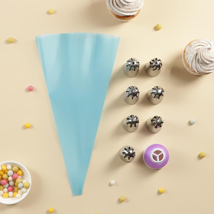 Набор кондитерский Доляна, 9 предметов: мешок, 7 насадок (диаметр основания 3 см), адаптер, насадки МИКС
