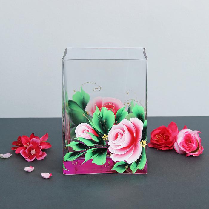 """Ваза Джем """"Розовый букет"""" розовый 8х10х14 см"""