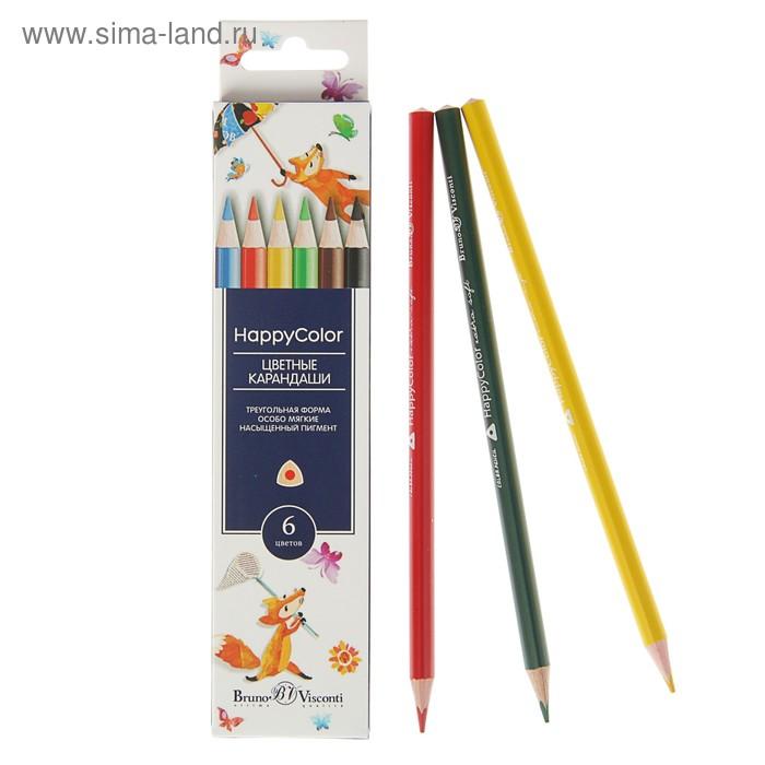 Карандаши 6 цветов Happycolor, 6 видов МИКС